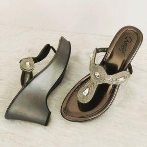 Carlos Santana Slip-on Silver Sandals